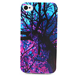 roxo teste padrão de flor pintura da árvore TPU macio para iphone 4 / 4s
