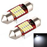 Yobo 4W 320lm slinger 31mm 10 * 4014 led wit licht voor auto besturing lamp / leeslamp - (2 stuks / dc 12-24v)
