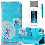 LEXY® Blue Bottom Dandelion Pattern PU Full Body Leather Case with Screen Protector and Stylus for iPhone 5/5S