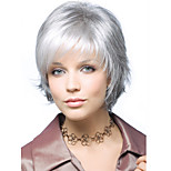 Fashionable Women's Glueless Short Curly Silver grey Synthetic Hair Wigs