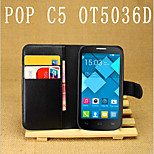 Embossed Card Bracket Protective Sleeve For Alcatel Pop C5 OT5036D Mobile Phone