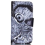 Finger Buckle Owl Painted PU Phone Case for iphone5C