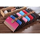Contrast Color Design High-quality PU+PC Leather Full Body Case with Kickstand and Slots Card for Iphone6