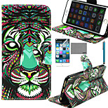 LEXY® Tigers Tribal Pattern PU Full Body Leather Case with Screen Protector and Stylus for iPhone 6/6S