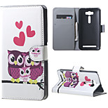 Wallet Leather Stand Cover for Asus Zenfone 2 Laser ZE500KG ZE500KL - Adorable Owls and Hearts