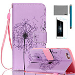 LEXY® Pink Dandelion SeedsPattern PU Full Body Leather Case with Screen Protector and Stylus for iPhone 6/6S Plus