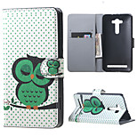 Napping Owl and Polka Dots Flip Wallet Leather Stand Shell for Asus Zenfone 2 Laser ZE550KL 5.5 inch