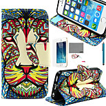 LEXY® Lion Tribal Pattern PU Full Body Leather Case with Screen Protector and Stylus for iPhone 5/5S