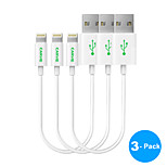 3-Pack  MFI Certified 0.6ft (20CM) Lightning to USB Sync and Charge Cable for Apple iPhone 5/5s/ 6/6 Plus/ iPad mini