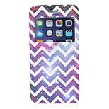 Purple Wave Stripe Pattern PU Window Full Body Case for iPhone 6