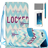 LEXY® Blue-white Wave Pattern PU Full Body Leather Case with Screen Protector and Stylus for iPhone 5/5S