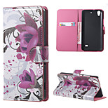 Purple Flowers PU Leather Wallet Flip With Stand Case Cover for Huawei Ascend G620S
