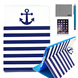 LEXY® Navy Blue Anchor Pattern PU Leather Flip Stand Case with Screen Protector and Stylus for iPad Mini 1/2/3