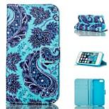 flower design blu pu caso tutto il corpo con stand con slot per schede per il iphone 5 / 5s