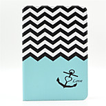 Anchors Pattern PU Leather Full Body Case with Stand and Card Slot for iPad Mini 4