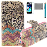 LEXY® Old-Fashion Print Pattern PU Full Body Leather Case with Screen Protector and Stylus for iPhone 5C