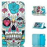 Cool Skull  Design PU Full Body Case with Stand with Card Slot for iPhone 5/5S
