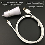 FCC CE certified Car Charge 1A/2.1A Double output + Apple MFi Certified Lightning Falt cable For iPhone 6 iPad iPod