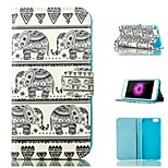 India Elephant Pattern Card Stand PU Leather Case Cover for iPhone 6 / 6S