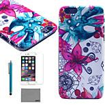 lexy® fiore modello astratto retro del pc astuccio rigido con protezione per lo schermo in vetro 9h e lo stilo per iPhone 5 / 5s