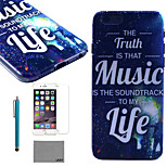 LEXY® Music Life Pattern Hard PC Back Case with 9H Glass Screen Protector and Stylus for iPhone 6/6S