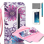 LEXY® Split type Red And Blue Lotus Pattern PU Full Body Leather Case with Screen Protector and Stylus for iPhone 5/5S