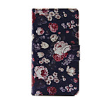 Flowers Design PU Leather Full Body Case with Stand and Card Slot for Sony Xperia M4 Aqua