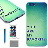 LEXY® Green Mood Pattern Hard PC Back Case with 9H Glass Screen Protector and Stylus for iPhone 6/6S