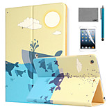 LEXY® Whale Pattern PU Leather Flip Stand Case with Screen Protector and Stylus for iPad Air/iPad 5