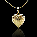18K Real Gold Plated Allah Muslim Islamic Heart photo box Pendant 1.9*3CM