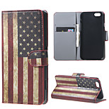 Magnetic Leather Stand Case Cover for iPhone 6/6S - Retro American Flag