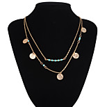Turquoise Strand Circle Pendant Multilayer Three Chain Necklace