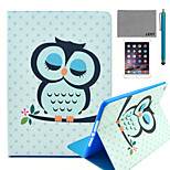 LEXY® Sleeping Owl Pattern PU Leather Flip Stand Case with Screen Protector and Stylus for iPad Air 2/iPad 6
