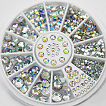 Nail Art 1.5mm Rhinestones Glitter Diamond Gems 3D Tips Decoration Wheel