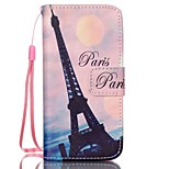 Transmission Tower Pattern PU Material Card Lanyard Case for iPhone 5C