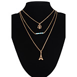 Clover Eiffel Tower Pendant Multilayer Three Chain Necklace