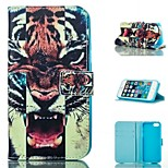 Tiger Design PU Full Body Case with Stand with Card Slot for iPhone 5/5S