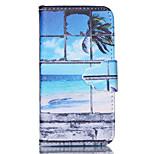 motif de plage de sable en cuir PU cas de tout le corps avec support et fente pour carte pour iPhone 4 / 4S