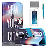 LEXY® New York Nights Pattern PU Full Body Leather Case with Screen Protector and Stylus for iPhone 5/5S
