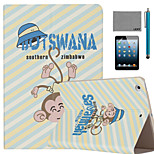 LEXY® Big head Monkey Pattern PU Leather Flip Stand Case with Screen Protector and Stylus for iPad Mini 1/2/3