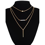 Metal Strip Tassel Pendant Multilayer Three Chain Necklace