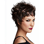 Capless High Quality Mix Color Extra Short Curly Hair Synthetic Wig with Side Bang