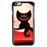 Halloween Style Smiling Shadow Cat Pattern Allunium Back Case for iPhone 6 Plus