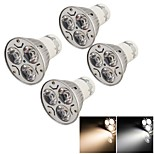YouOKLight® 4PCS GU10 3W 200LM 3000/6000K  White/ Warm White 3-LED Spot Light Bulb - Silver + White (AC85~265V)