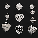 Beadia Antique Silver Metal Love Heart Charm Pendants Necklace Pendant Bracelet Charm 10 Styles