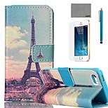 torre patrón huang caja de cuero de la PU de cuerpo completo lexy® con protector de pantalla y el stylus para el iphone 5 / 5s