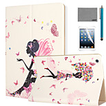 LEXY® Butterfly Girl Pattern PU Leather Flip Stand Case with Screen Protector and Stylus for iPad Air/iPad 5