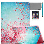LEXY® Sky Red Floral Pattern PU Leather Flip Stand Case with Screen Protector and Stylus for iPad Mini 1/2/3
