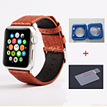 Cowhide Newest All Genuine Leather Unisex Watch Bands Stainless Steel Buckle for Apple Watch 38mm、42mm (Assorted Colors)