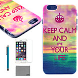 LEXY® Sea Story Pattern Hard PC Back Case with 9H Glass Screen Protector and Stylus for iPhone 5/5S